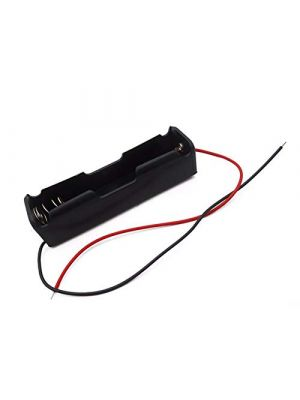 1 x 18650 Single Cell Lithium Battery Holder - for 3.7V li-ion Plastic case with Lead Wire Hard pin Spring Retention - 1PCS Black