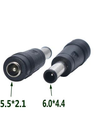 DC Power socket 5.5 x 2.1 mm FEMALE -to- MALE DC Plug 6.0 x 4.4 mm | Connector Adapter Converter
