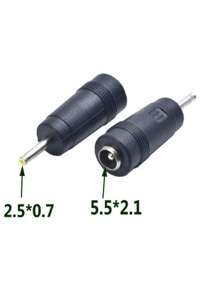 DC Power socket 5.5 x 2.1 mm FEMALE -to- MALE DC Plug 2.5 x 0.7 mm | Connector Adapter Converter