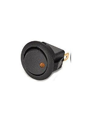 Round Rocker 12V 16A ON-Off SPST Switch for Auto/Car/Boat - with Indicator (Yellow DOT)