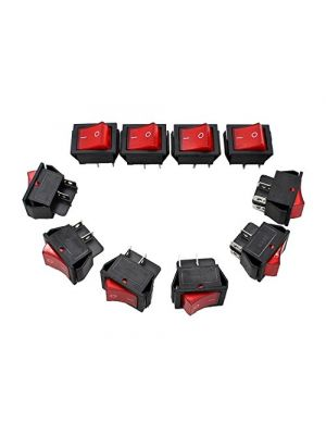 5PCS - RED 16A (MAX 250V) LED Dot Light Car Boat Square Rocker ON/OFF SPST Switch 4 Pins Toggle Button Switch