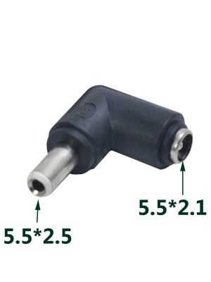 DC Power socket 5.5 x 2.1 mm FEMALE -to- MALE DC Plug 5.5 x 2.5 mm | 90 Degree angled | Connector Adapter Converter