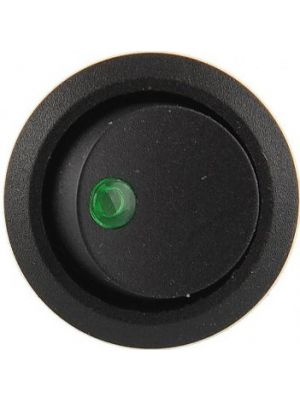 Round Rocker 12V 16A ON-Off SPST Switch for Auto/Car/Boat - with Indicator (Green DOT)