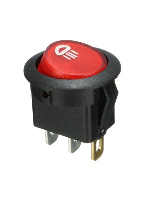 Illuminated LED SPST ON/OFF Push Button Round Rocker Switch - 3 pin 4.8mm terminals - for Car/Boat/Auto/Van LED Lamp Dash Light - (12V, Red)