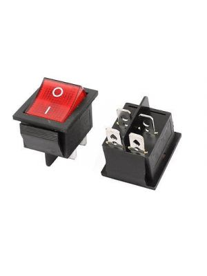 Square Illuminated Red Button - KCD4 DPST ON-Off 16A 250V AC / 20A 125V AC 4 Pin - Light Rocker Power Switch - for Car Auto Boat Truck (RED)