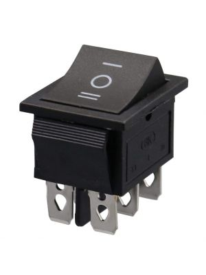 Square Black Button DPDT 3 Position - KCD4 ON-Off-ON 16A 250V AC / 20A 125V AC 6 Pin - Light Rocker Power Switch - for Car Auto Boat Truck (Black)